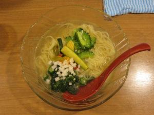 夏野菜の冷やし麺 アスパラだし仕立て@鯛塩そば 灯花:ビジュアル:トップ