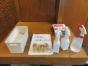 中華そば(茹で卵)@えっちゃんラーメン:消毒用アルコール